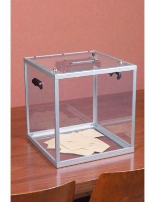 Urne électorale transparente avec bulletins
