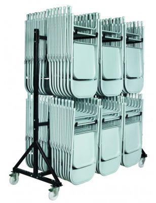 Chariot à étage pour rangement et transport de chaises pliantes