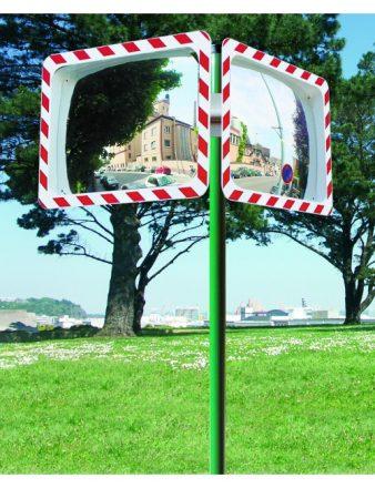 Poteau pour miroir routier avec miroirs routiers