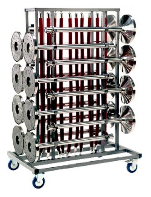 Chariot de transport pour potelets à sangles ou à cordes