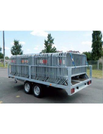 Remorque pour transport de barrières grande capacité