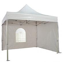 Tente pliante avec 2 côtés ouvert - logo première page