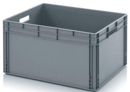Bac plastique gris de rangement et de transport avec ou sans couvercle