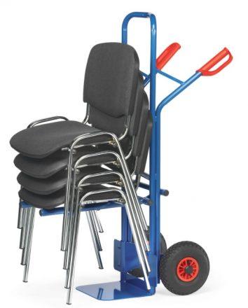Diable porte-chaise avec chaises noires