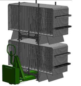 Rack de transport et de stockage pour barrières de sécurité