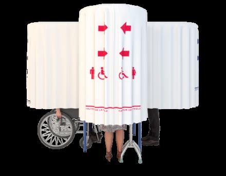 Cabine de vote élection 4 personnes avec rideau opaque
