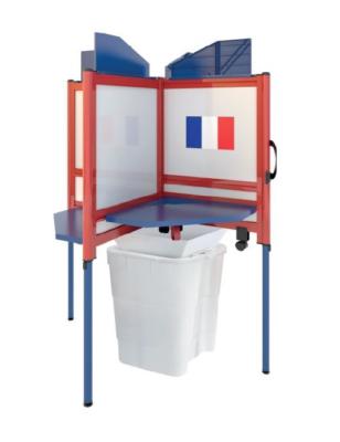 Cabine de vote avec corbeille sans rideau