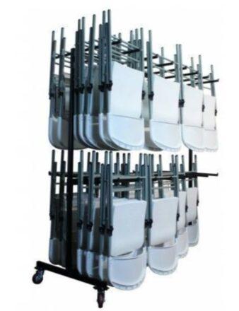 Chariot double étage B avec chaises pliantes