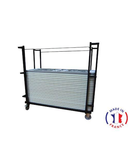 Chariot pour transport de table sur mesure en acier